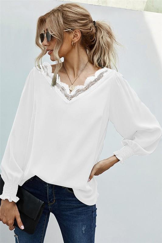 White Crochet Lace Scalloped V-Neck Blouse