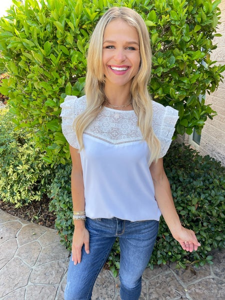 Swiss Entredeux White Lace Top