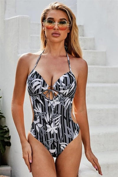 Black Floral Sweetheart Monokini Swimsuit