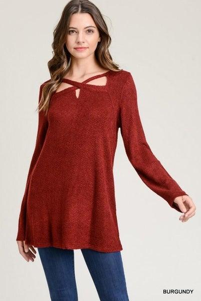 Burgundy Soft Long Sleeve Crisscross Top