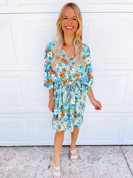 Sky Blue Floral Buttoned Boho Dress | Adjustable Drawstring