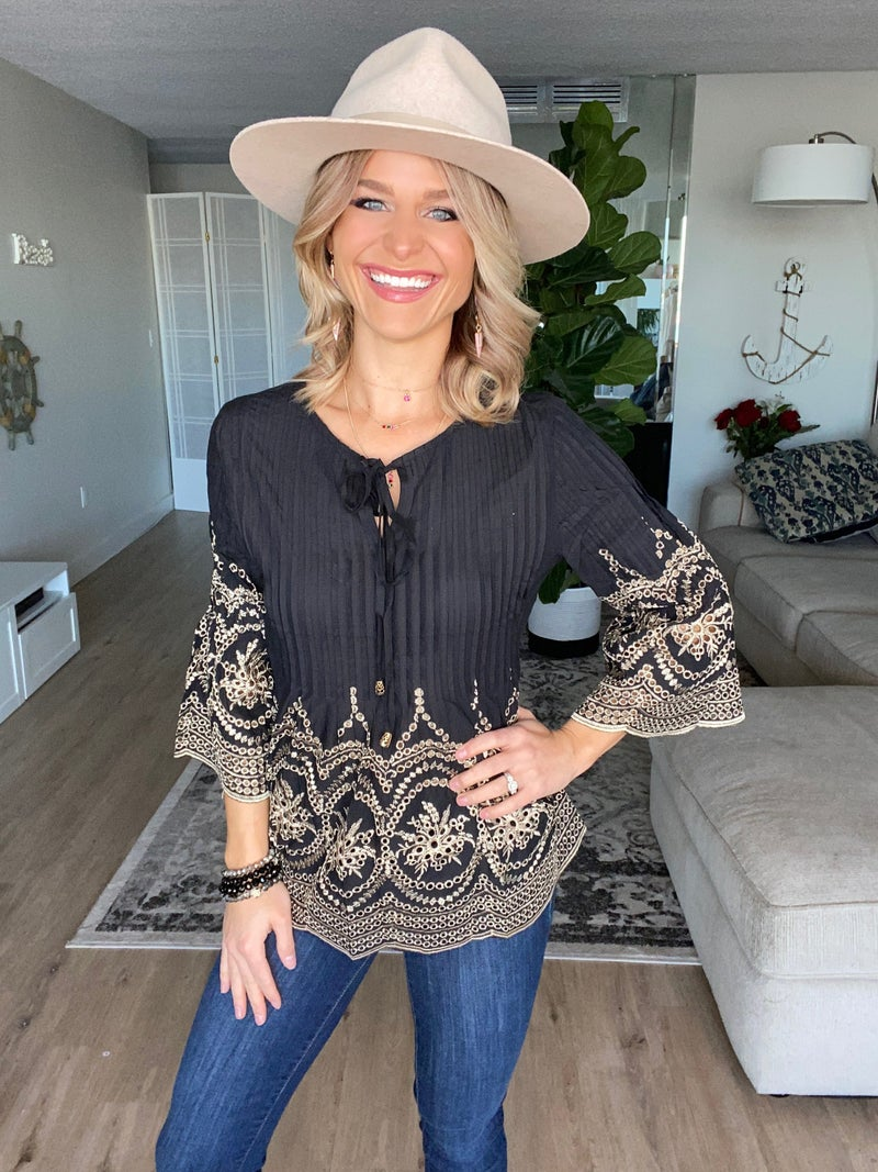 Black Bohemian Embroidered Neck Tie Top