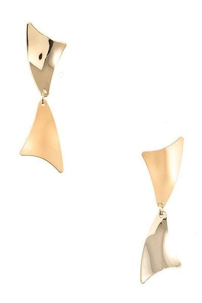 Elegant Gold Double Link Drop Earrings