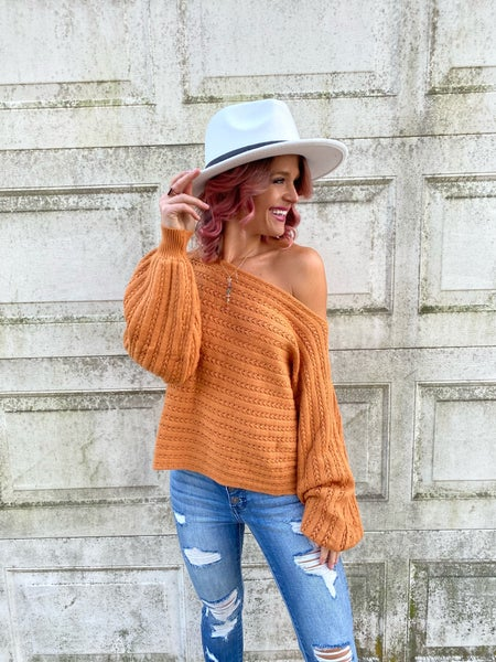 Amber Cable On-or-Off Shoulder Boho Sweater