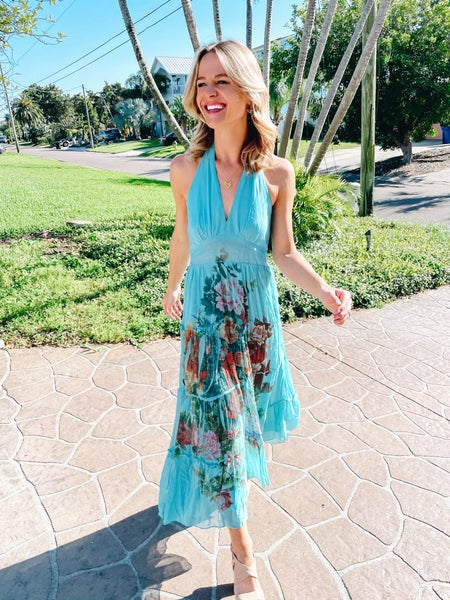 Aquamarine Floral Tiered Halter Maxi Dress