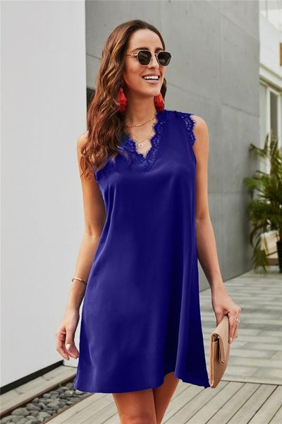 Lapis Blue Eyelash Lace Trim Sleeveless Shift Dress
