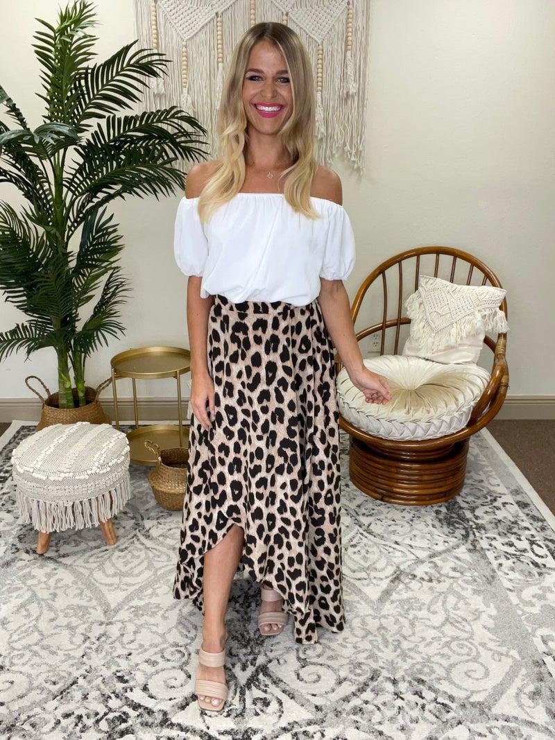 Leopard Contrast Off the Shoulder Dress