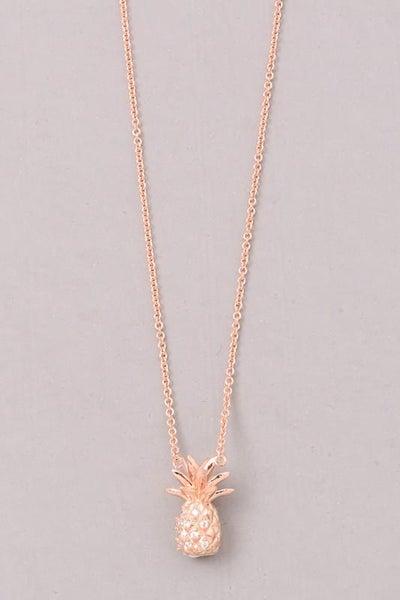 Rose Gold Cubic Zirconia Pineapple Pendant Necklace