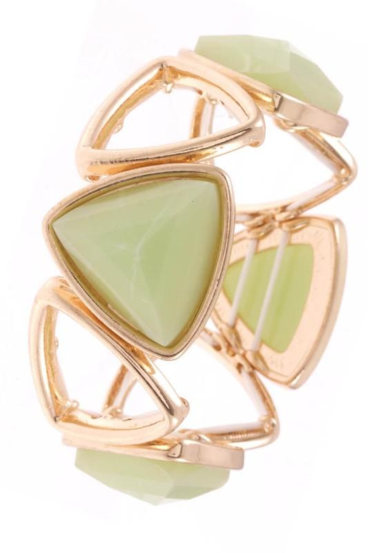 Mint Stone Faceted Boho Triangle Stretch Bracelet