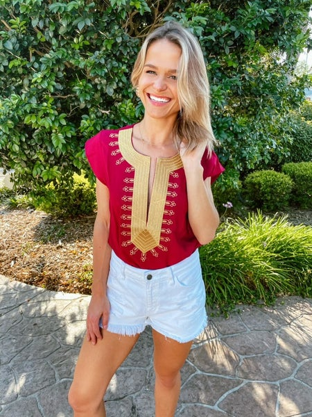 Wine & Gold Embroidered Boho Shift Blouse