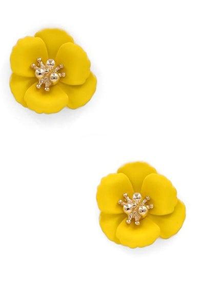 Yellow Matte Flower Stud Earrings