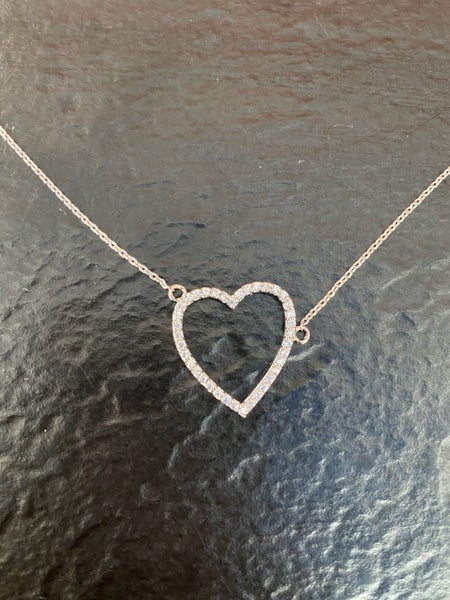 Rhodium Silver CZ Heart Cutout Pendant Necklace