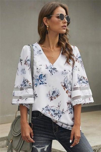 White Quarter Sleeve Boho Flared Sleeve Floral Blouse
