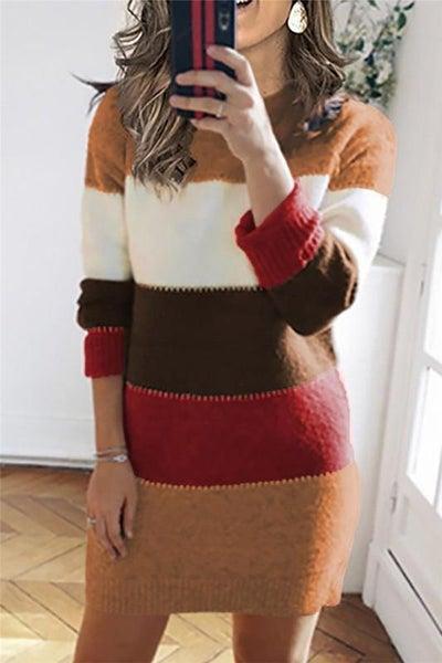 Amber Mix Color Block Fall Sweater Dress