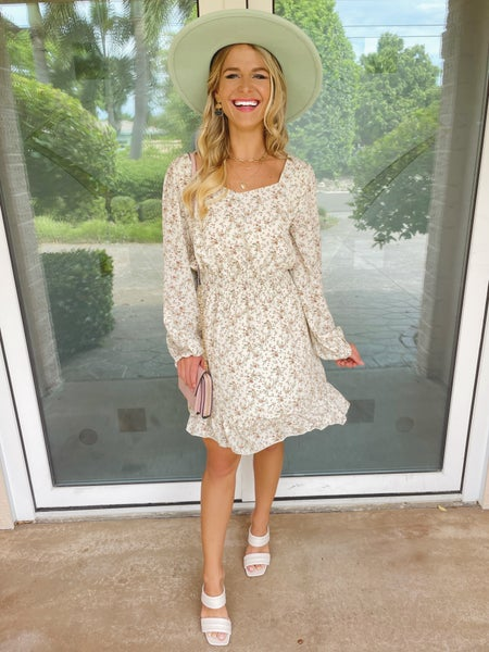 White Floral Boho Modern Cut Smocked Waist Dress