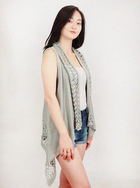 Silver Hand Crochet Shawl Collar Knit Open Vest Top