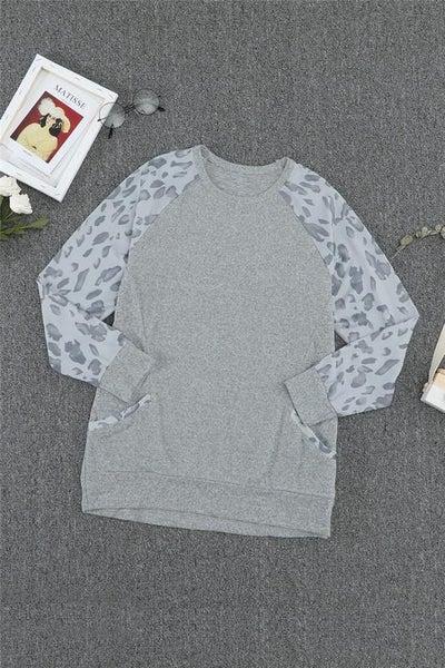 Grey Contrast Animal Print Raglan Sleeve Pocket Top