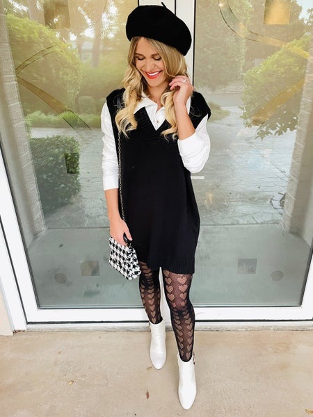 Black Knit Vest Pullover Sweater Tunic