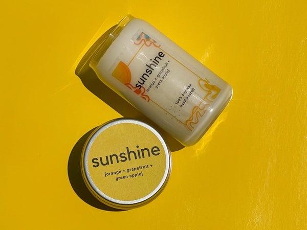 Sunshine   Orange + Grapefruit + Green Apple   100% Soy Wax Candle