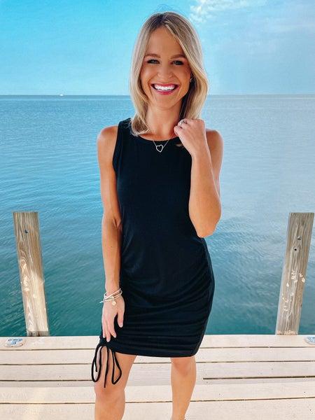 Black Sleeveless Adjustable Length Side Ruching Dress