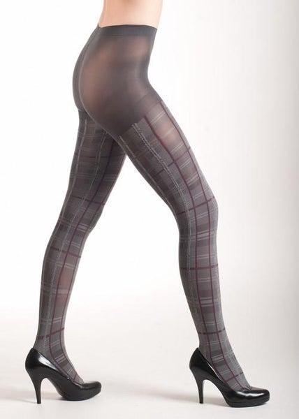 Grey Plaid Fashion Tights