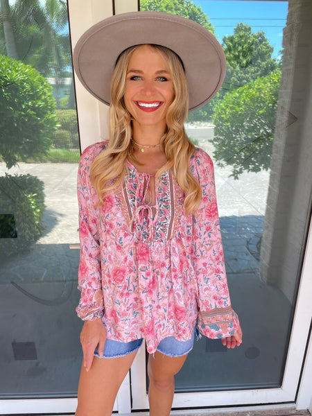Pink Floral Double Neck Tie Whimsical Long Sleeve Top