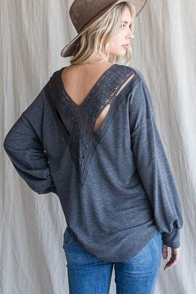 Vintage Charcoal Crochet Lace Back Bishop Sleeve Top