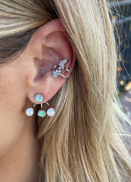 Mint Gem and Pearl Jacket Earrings