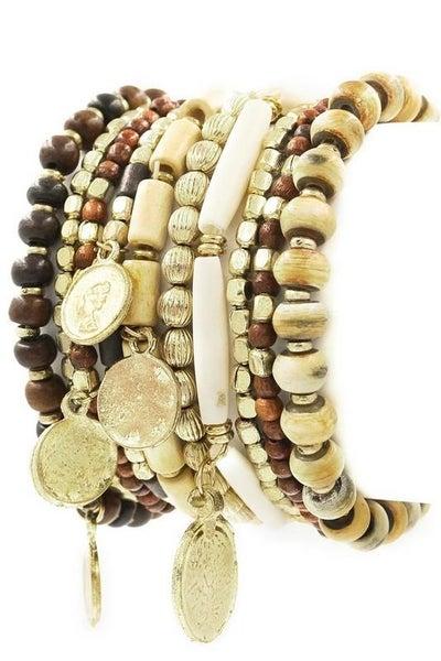 Natural Faceted Assorted Boho Stretch Bracelet Set - 10 Bracelets in Set