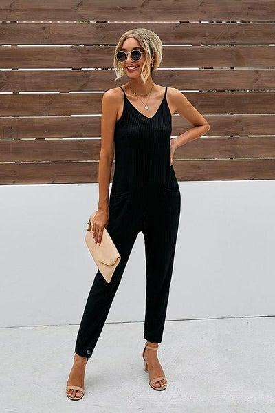 Do Anything Black Spaghetti Strap Pocket Jumpsuit | Adjustable Straps