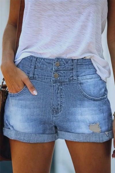 Blue Cuffed Stretchy High Rise Denim Shorts