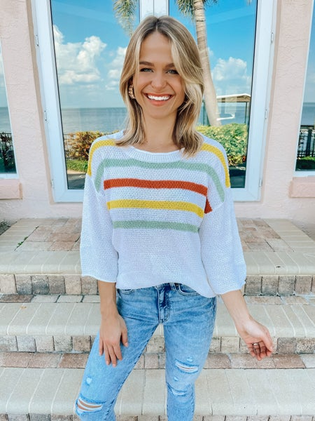 White Multicolor Lightweight Knit Quarter Sleeve Top