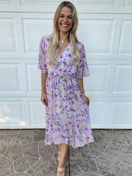 Lavender Spring Florals High Low Hem Dress