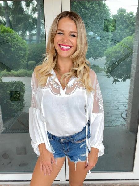 White Lace Inset Boho-Style Blouse