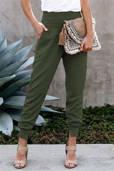 Stylish Green Pocketed High Waist Chic Joggers