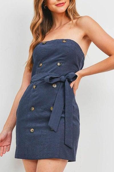 *SPECIAL PRICE* Navy Strapless Waist Tie Button Front Dress
