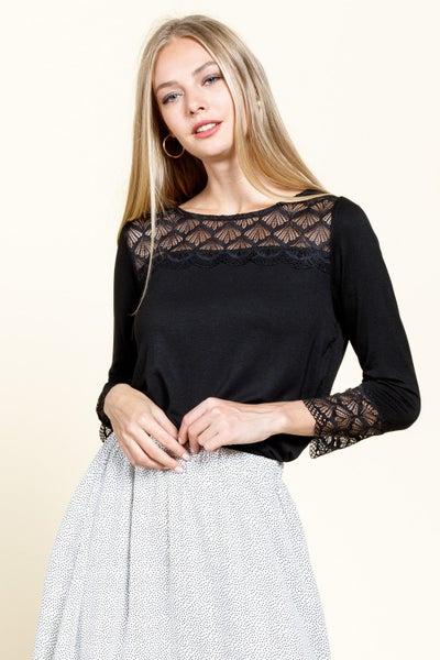 Black Lace Cutout Stunner Top