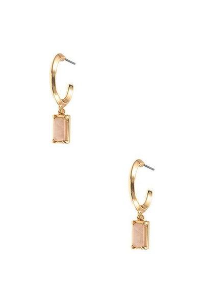 Pink Gem Drop Semi Circle Earrings