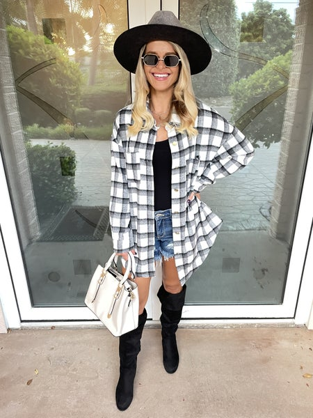 Black & White Casual Oversized Button Down Plaid Shacket