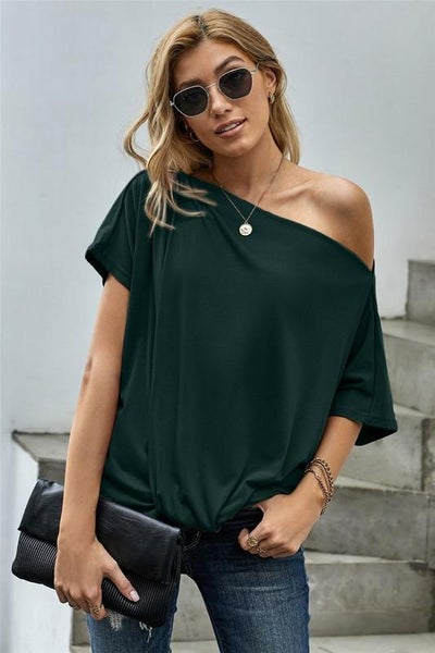 Green Off Shoulder Boho Twist Top