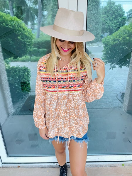 Amber Aztec Embroidered Bohemian Style Long Sleeve Top