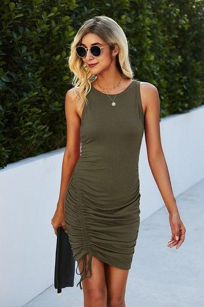 Olive Sleeveless Adjustable Length Side Ruching Dress