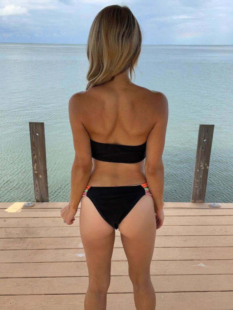 Summer Color Pop Bandeau Bikini Swimsuit Set