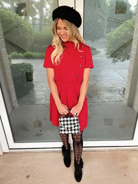 Classy Cranberry Button Detail Waist Pleating Short Sleeve Dress