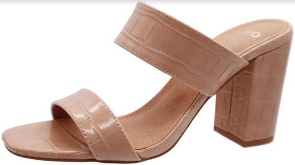Nude Slip On Comfy Heel Sandals