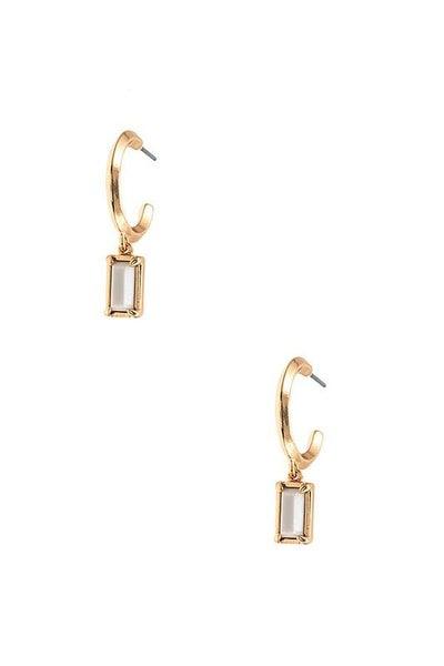 White Gem Drop Semi Circle Earrings