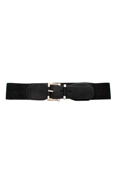 Black Stylish Stretchy Gold Buckle Waist Belt
