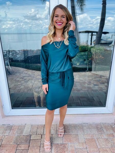 Emerald Green Dolman Sleeve Sabrina Neckline Belt Tie Dress