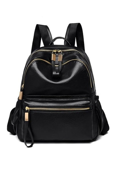Premium Black Leather Purse Backpack | Adjustable Straps