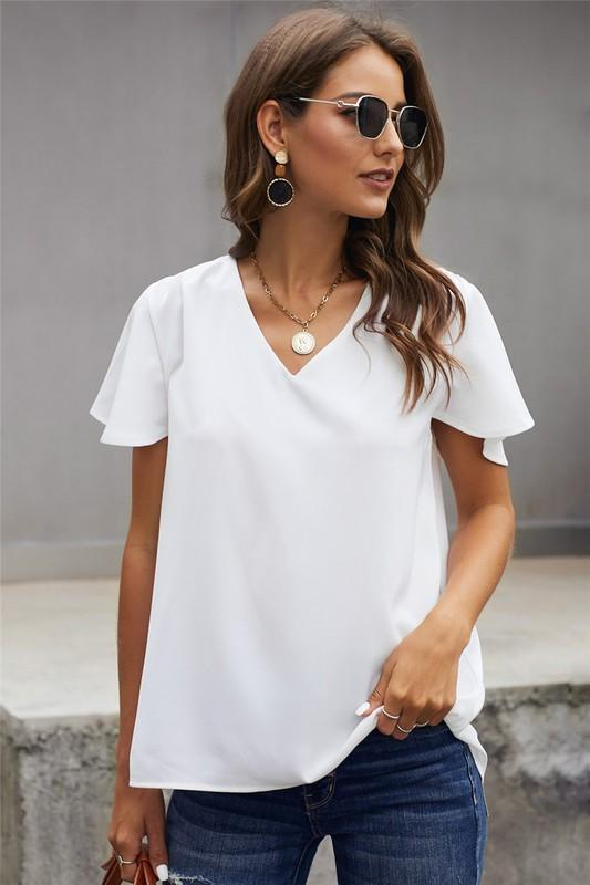 White Flutter Sleeve Hi-Low Hem Blouse